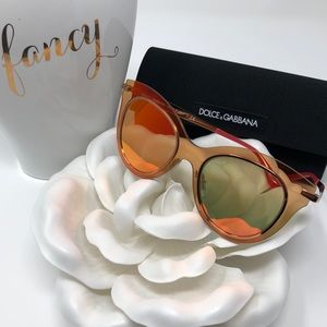 Dolce & Gabbana Red Mirror Sunglasses Cat Eye